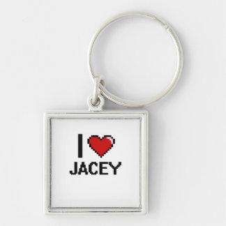 I Love Jacey Digital Retro Design Silver-Colored Square Keychain