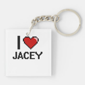 I Love Jacey Digital Retro Design Double-Sided Square Acrylic Keychain