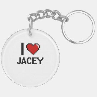 I Love Jacey Digital Retro Design Double-Sided Round Acrylic Keychain