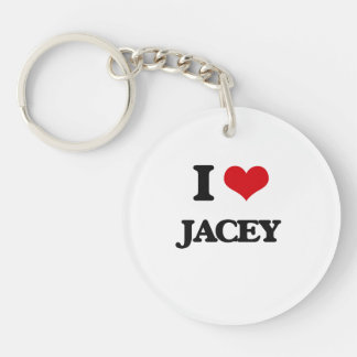 I Love Jacey Single-Sided Round Acrylic Keychain