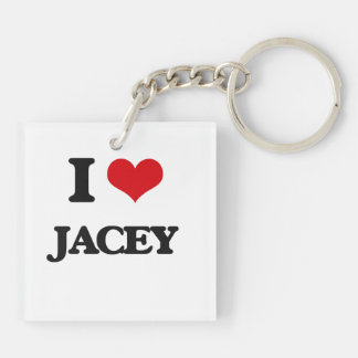 I Love Jacey Double-Sided Square Acrylic Keychain