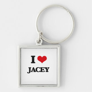 I Love Jacey Silver-Colored Square Keychain