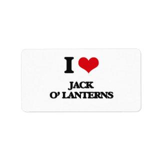 I Love Jack O' Lanterns Personalized Address Labels