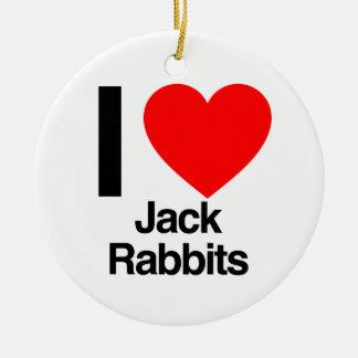 i love jack rabbits christmas tree ornament