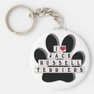 I LOVE JACK RUSSELL TERRIERS - BLOCKS BASIC ROUND BUTTON KEYCHAIN