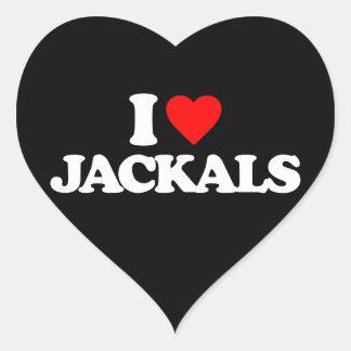 I LOVE JACKALS HEART STICKER