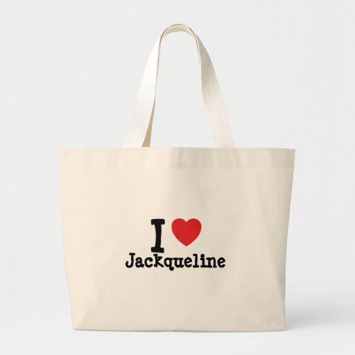 I love Jackqueline heart T-Shirt Jumbo Tote Bag