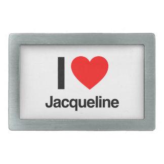 i love jacqueline rectangular belt buckle