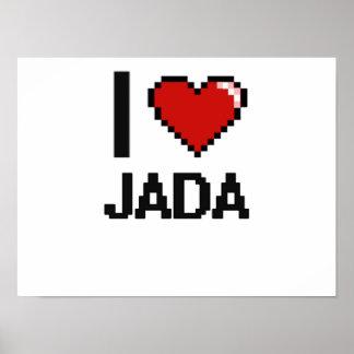 I Love Jada Digital Retro Design Poster