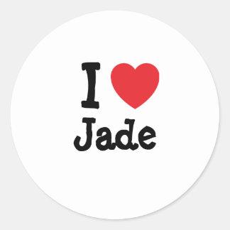 I love Jade heart T-Shirt Classic Round Sticker