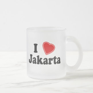 I Love Jakarta Frosted Glass Coffee Mug