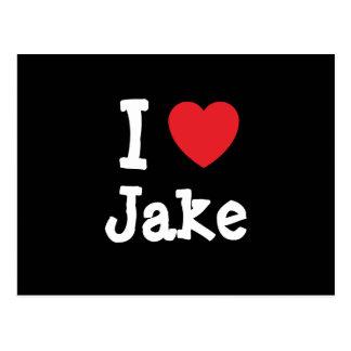 I love Jake heart custom personalized Postcards