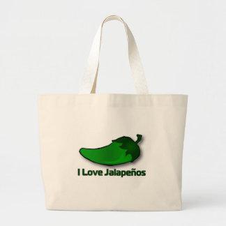 I Love Jalapenos Large Tote Bag