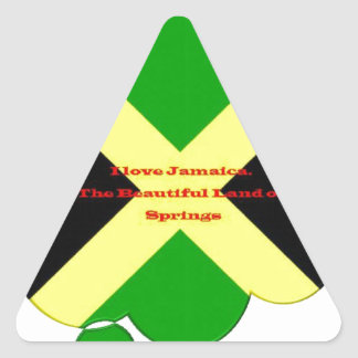 I Love Jamaica. The Beautiful Land of Springs Triangle Sticker