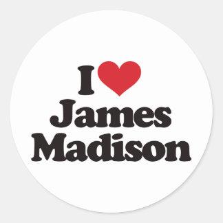 I Love James Madison Classic Round Sticker