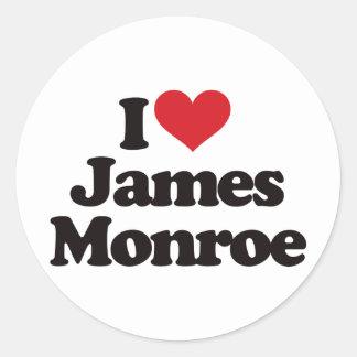 I Love James Monroe Classic Round Sticker