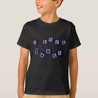 I love James toy blocks in blue T-Shirt