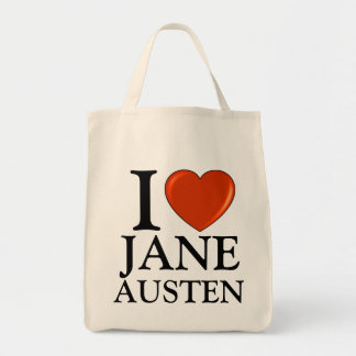 I Love Jane Austen with Red Heart Tote Bag
