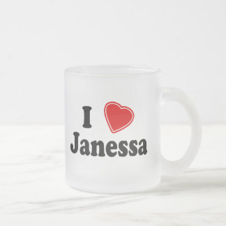 I Love Janessa Frosted Glass Coffee Mug