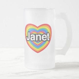 I love Janet. I love you Janet. Heart 16 Oz Frosted Glass Beer Mug
