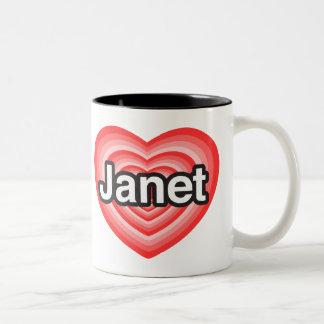 I love Janet. I love you Janet. Heart Two-Tone Coffee Mug