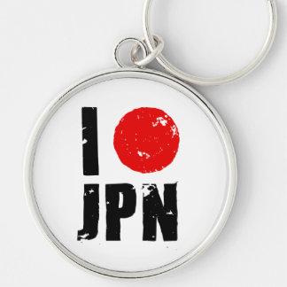 I Love Japan (I Love JPN) Silver-Colored Round Keychain