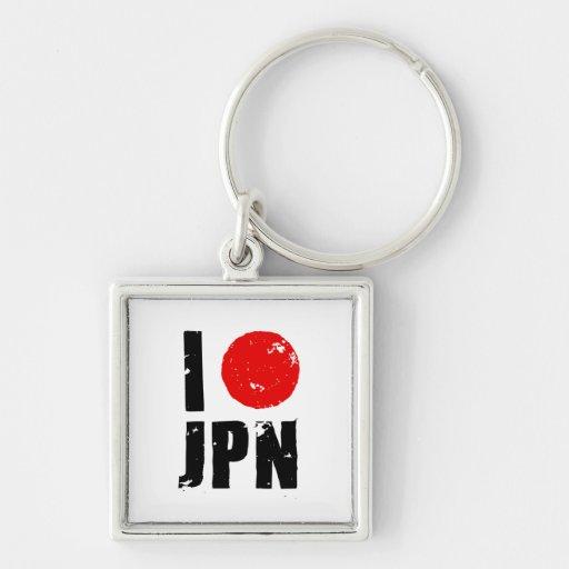 I Love Japan (I Love JPN) Silver-Colored Square Keychain