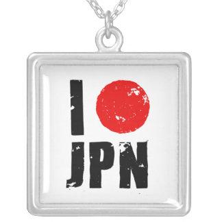 I Love Japan (I Love JPN) Square Pendant Necklace