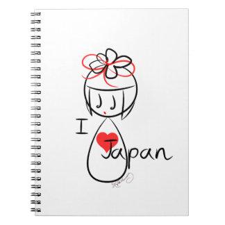 I Love Japan Kokeshi Doll Art Spiral Notebook