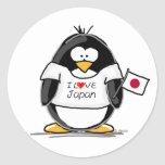 I Love Japan Penguin Classic Round Sticker