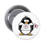 I Love Japan Penguin Pinback Buttons