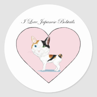 I Love Japanese Bobtails Classic Round Sticker