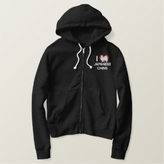 I Love Japanese Chins Embroidered Zip Hoodie