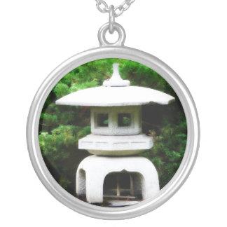 I love Japanese Culture - Pagoda Lantern Decor Round Pendant Necklace
