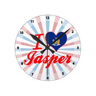I Love Jasper, New York Round Wallclocks