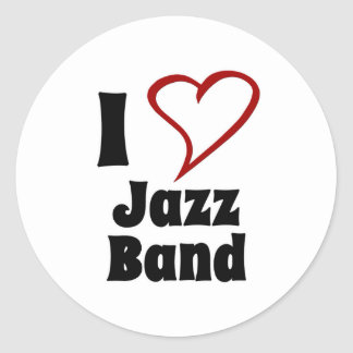 I Love Jazz Band Classic Round Sticker