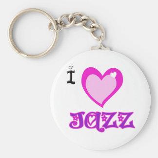 I LOVE Jazz Basic Round Button Keychain