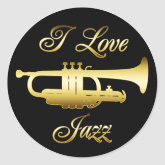 I LOVE JAZZ CLASSIC ROUND STICKER