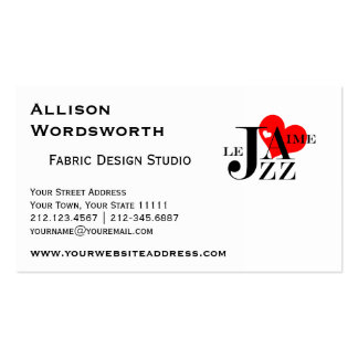 I Love Jazz Design in French Double-Sided Standard Business Cards (Pack Of 100)