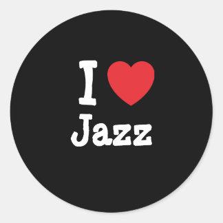 I love Jazz heart custom personalized Classic Round Sticker