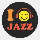 I love jazz music smiley with headphones stickers
