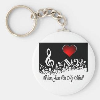 I Love jazz On My Mind City Scape Basic Round Button Keychain