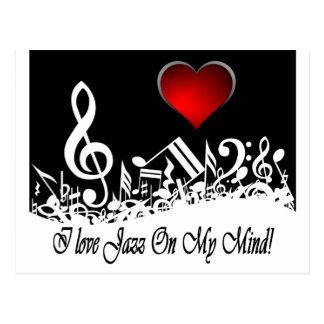 I Love jazz On My Mind City Scape Postcard