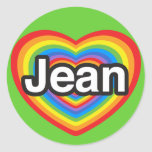 I love Jean. I love you Jean. Heart Round Stickers