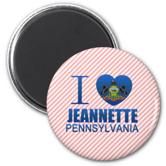 I Love Jeannette, PA 2 Inch Round Magnet