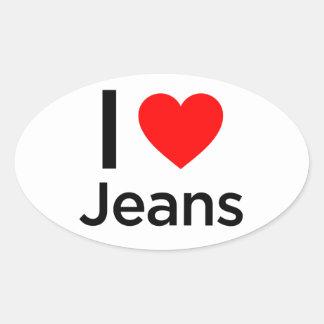 I Love Jeans Oval Sticker