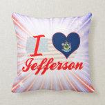 I Love Jefferson, Maine Throw Pillows