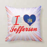 I Love Jefferson, New York Throw Pillows