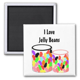 I Love Jelly Beans 2 Inch Square Magnet
