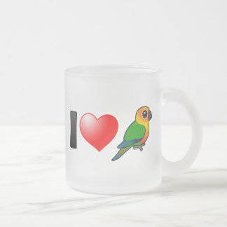 I Love Jenday Conures 10 Oz Frosted Glass Coffee Mug